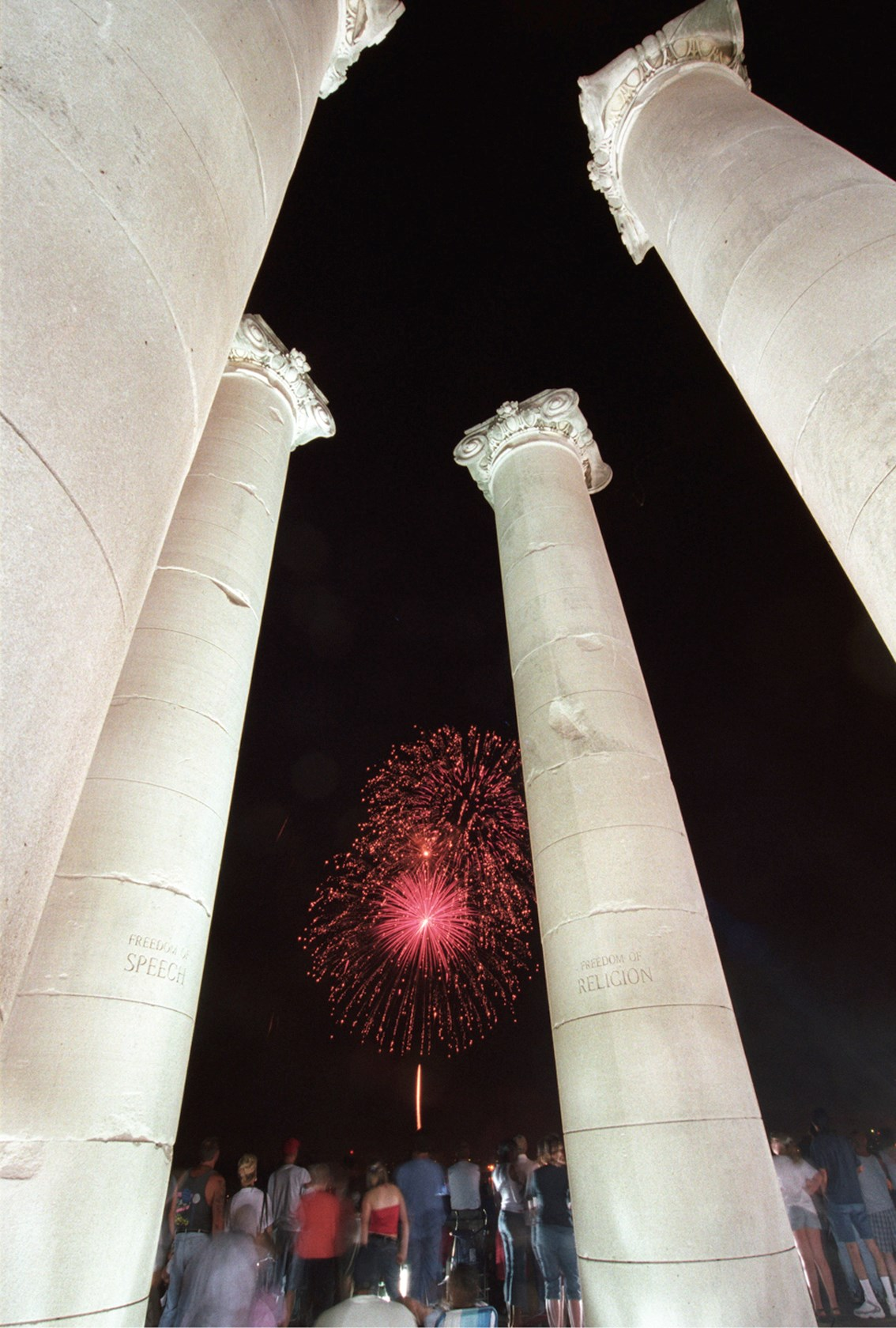Fireworks at the Four Freedoms Monument