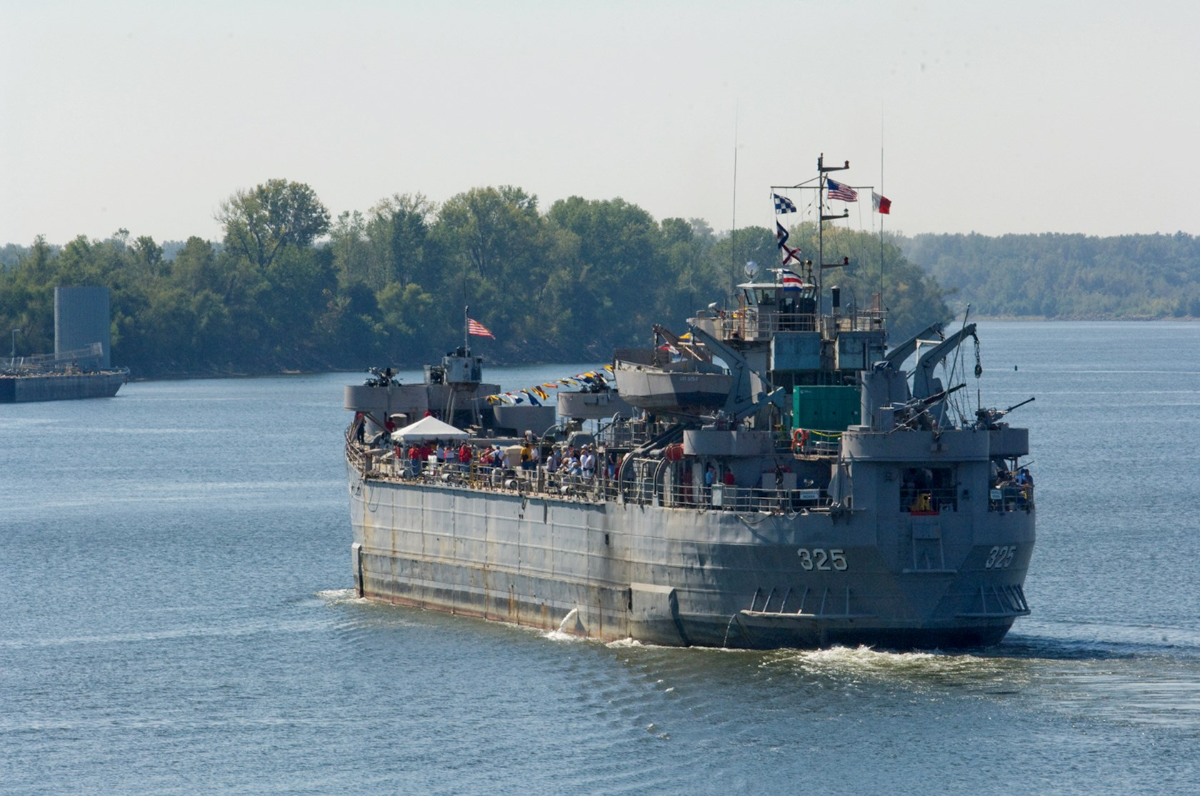 LST docking at museum