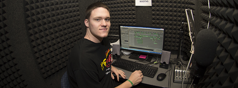 Student in radio facilities