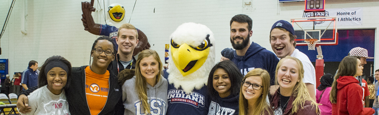 USI students and Archie at PAC event