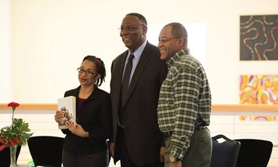 "Dr. James D. Anderson (center) was the speaker for the annual Dr. Martin Luther King, Jr. Memorial Luncheon. <a href=""http://www.usi.edu/usitoday/campus-snapshots/""><span style=""color:#FF0000"">See more from this event</a>"