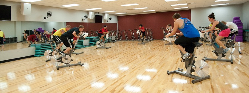 Group exercise spinning class