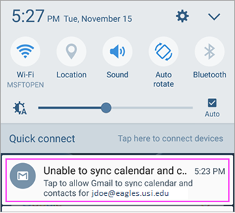 Mail sync error message