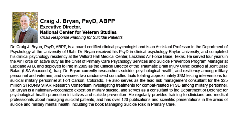 Craig J. Bryan, PsyD, ABPP - Executive Director, National Center for Veteran Studies
