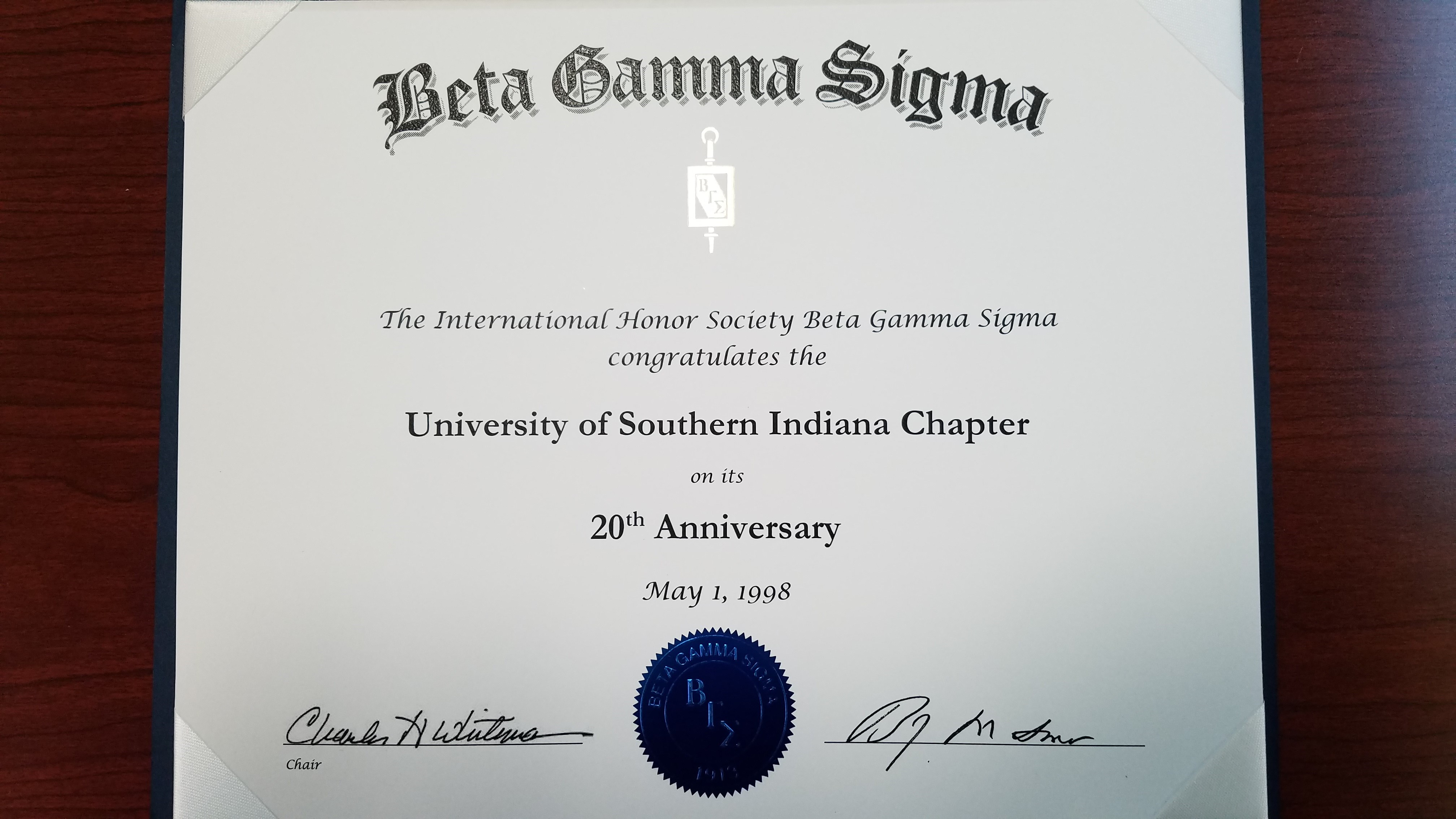 USI celebrates 20th Year as a Beta Gamma Sigma Chapter