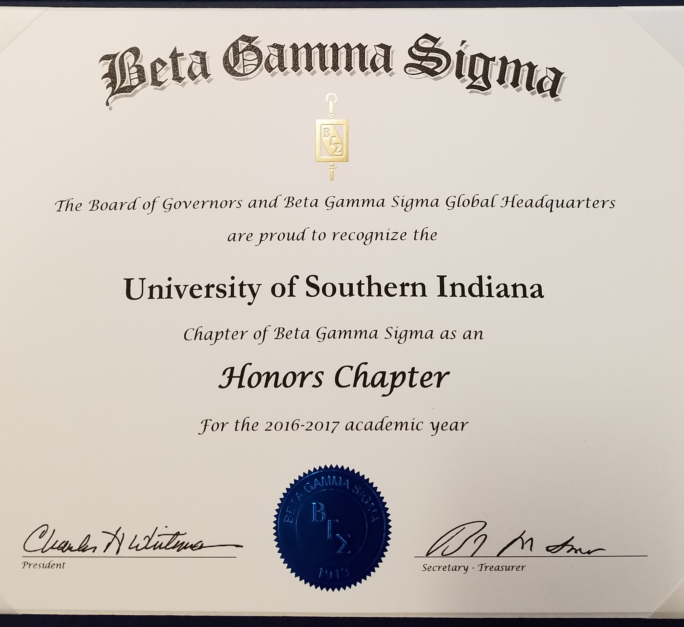 USI Chapter of Beta Gamma Sigma recognized as an Honors Chapter
