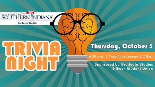 Trivia Night on October 5th starting at 6:30 p.m. in the Traditions Lounge