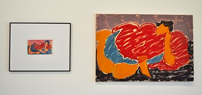 Two pieces, one on left framed and small, one on right much bigger-- both are abstract figures in red
