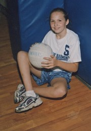 Sarah Vaughn with a volleyball
