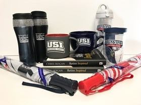 Various mugs, tumblers, books and other items from the USI Campus Store given out as door prizes during retirement and financial wellness workshops