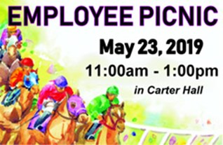 Horse racing background with Employee Picnic time, date and location