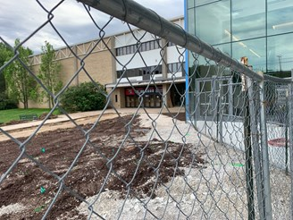 Construction fencing blocking entrance to the PAC