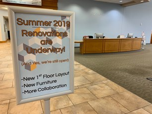 Rice Library summer renovation sign