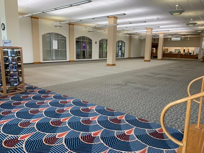 David L. Rice Library's first floor has been cleared out for renovations