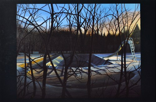 Painting of an empty pool in winter at daybreak