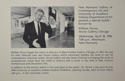 new harmony gallery of contemporary ary and university of southenr indiana department of art present a special public lecture by william struve, struve gallery, chicago