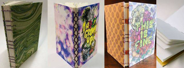 Collage of photos of book binding