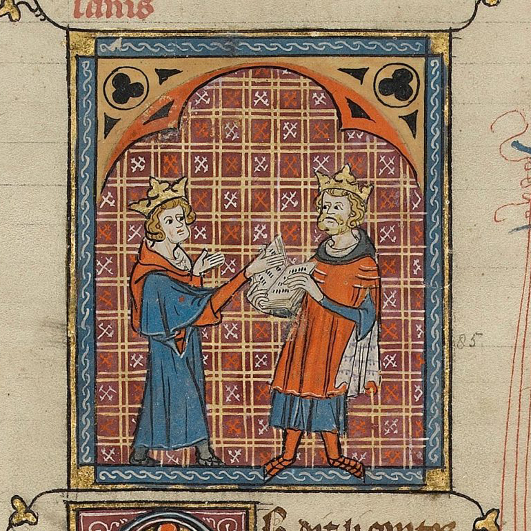 Medieval Illuminated Manuscript with two men discussing a book